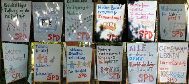 Selbstgemachte Plakate des SPD-Ortsvereins Bothfeld