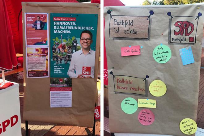 Stelltafeln am Ortsvereinsstand auf dem Bothfelder Herbstmarkt